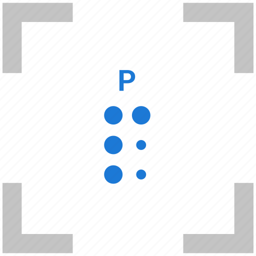 alphabet, braille, letter, p icon
