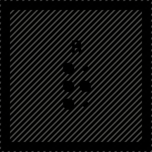 alphabet, braille, letter, r icon