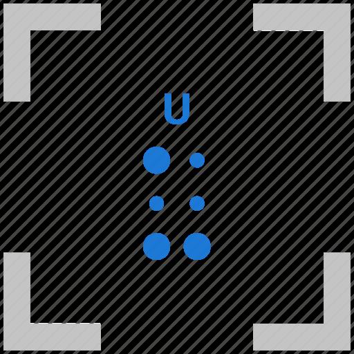 alphabet, braille, letter, u icon