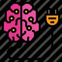 brain, charge, idea, imagination, inspiration, knowledge, thinking