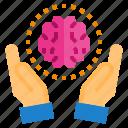 brain, hand, imagination, inspiration, knowledge, thinking