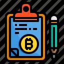 bitcoin, board, check, clipboard, list, pad