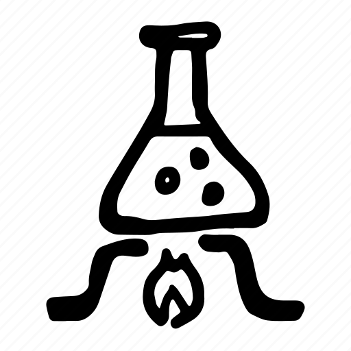 burn, burner, chemical, chemistry, combustion, cooking, equipment, evaporation, experiment, fire, flame, flask, hand-drawn, lab, laboratory, potion, prepare, reaction, research, science, tube, vaporization icon