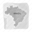 brazil, country, geography, location, map, territory icon
