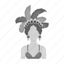 attire, brazilian, carnival, feathers, girl, headpiece, woman icon