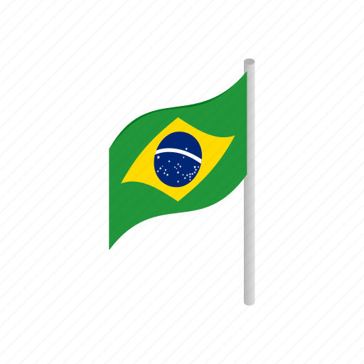 brazil, country, flag, isometric, national, patriotism, wind icon