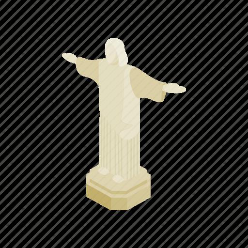 brazil, isometric, jesus, monument, religion, rio, statue icon