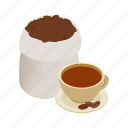 brazilian, brown, cafe, coffee, espresso, isometric, morning icon