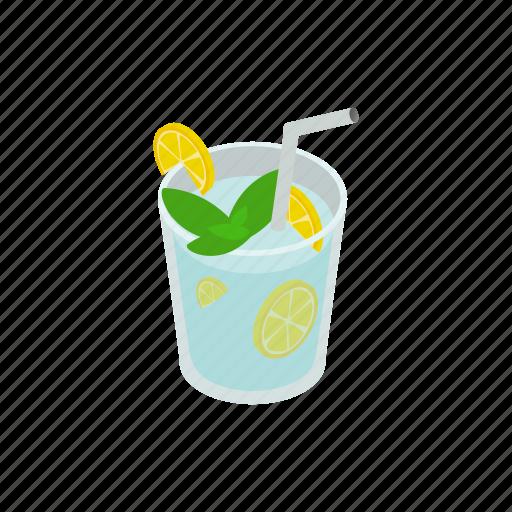 alcohol, fruit, ice, isometric, lemon, lime, tropical icon