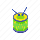 drum, instrument, isometric, music, musical, percussion, sound icon