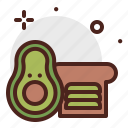 avocado, beverage, brunch, food, pattiserie, toast icon
