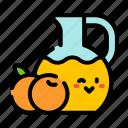 orange, juice, jug, cute