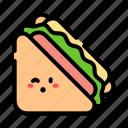 sandwich, ham, cheese, cute