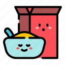 cereal, bowl, box, cute