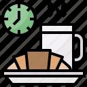 breads, coffee, croissant, kitchenware, mug