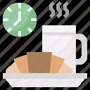 breads, coffee, croissant, kitchenware, mug icon