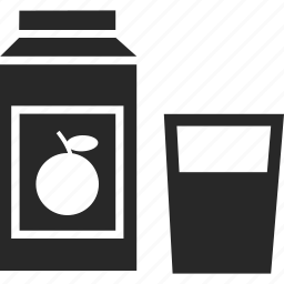 carton, glass, juice, orange, orange juice icon