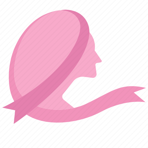 breast, cancer, care, disease, head, ribbon, woman icon