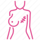 breast, cancer, patient, recovery, scar, survival, treatment icon