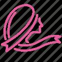 breast, cancer, female, girl, hair, ribbon, women icon