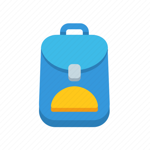 backpack, bag, blue, cartoon, education, school icon