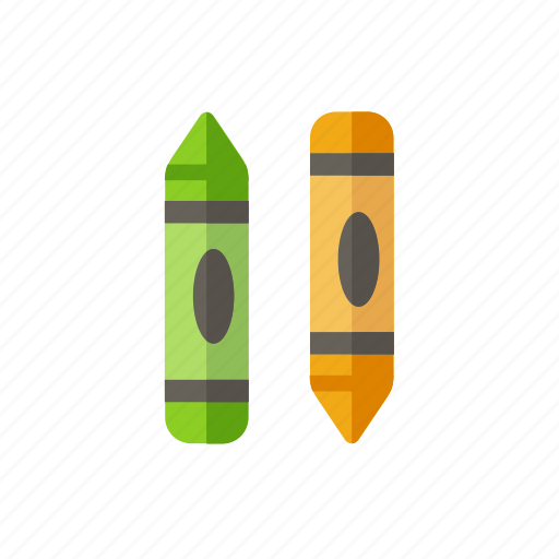 crayon, draw, green, pen, school, yellow icon