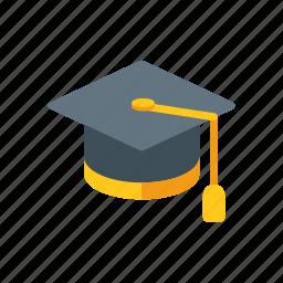diploma, education, graduate, graduation, hat, student, university icon