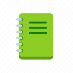 book, exercise, green, notebook, notes, spiral icon