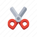 cartoon, cut, cutting, office, paper, scissors, stationery icon