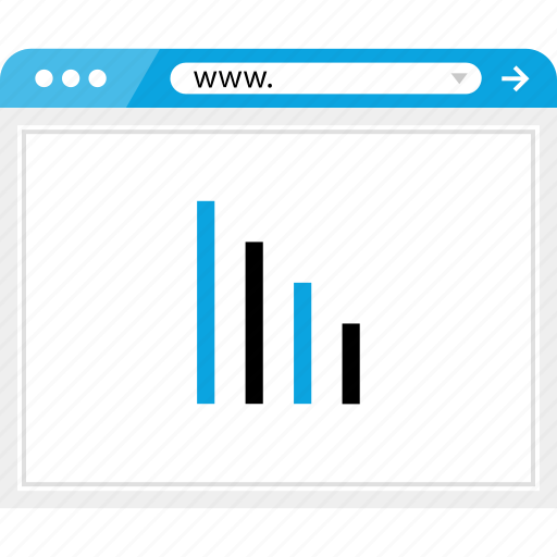 bars, browser, down, graph, online icon