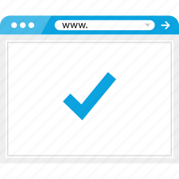 browser, check, mark, online icon