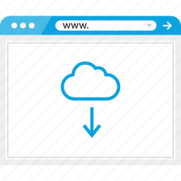 arrow, browser, cloud, down, online icon
