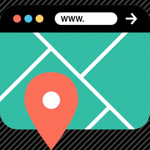 googlemap, internet, online, seo, web, webbrowser, www icon