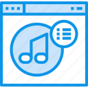 browser, interface, list, music, page, web, website icon