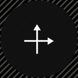 arrow, axis, coordinates, way icon