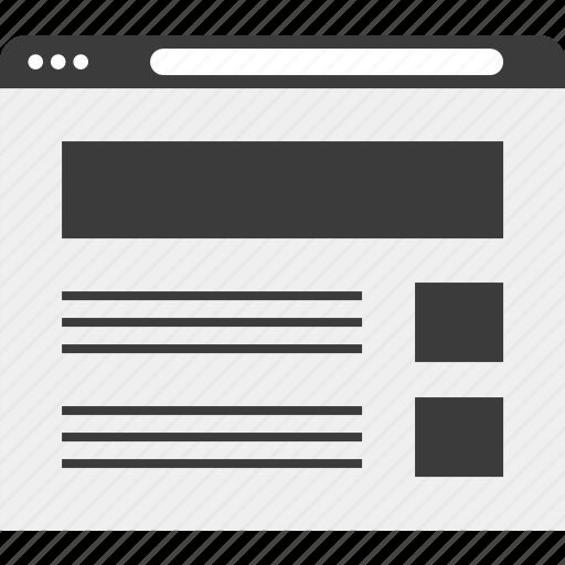 browser, internet, list, wireframe icon