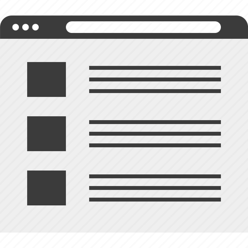 browser, layout, list, wireframe icon