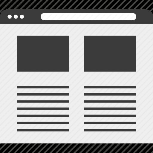 blog, internet, layout, web, wireframe icon