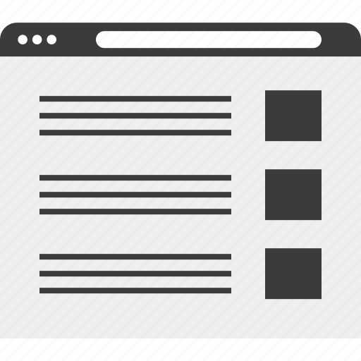 blog, layout, list, web, wireframe icon