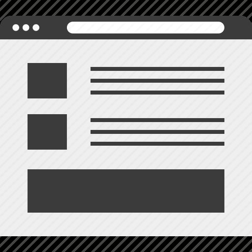 blog, list, online, web, wireframe icon