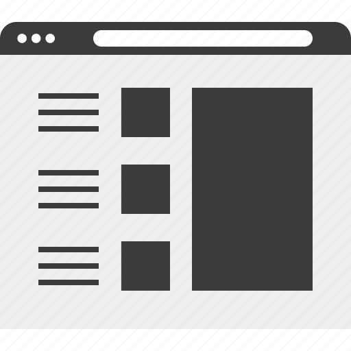 frames, layout, list, web, wireframe icon