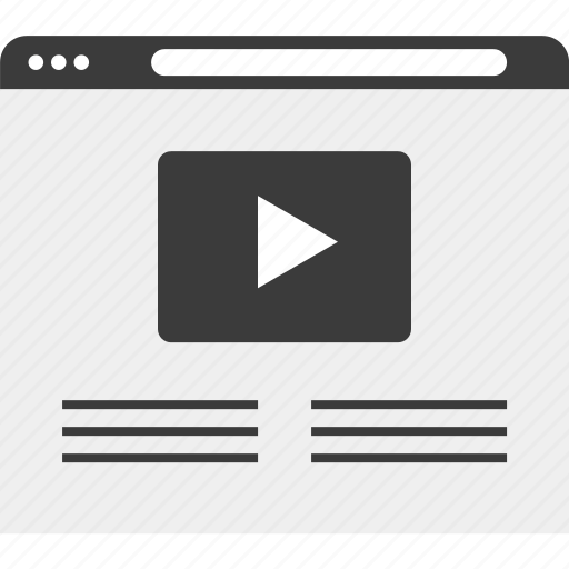 media, play, video, web, website, wireframe icon