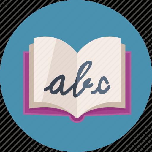 alphabet, education, school book icon