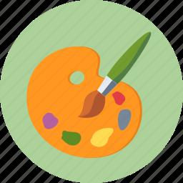 art, colors, design, education, paint brush, painting, palette, school icon