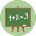 blackboard, education, math icon
