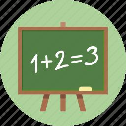 blackboard, calculate, calculation, education, learning, math, mathematics, school, study icon