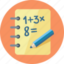 calculate, calculation, education, exercise book, learning, math, mathematics, school icon