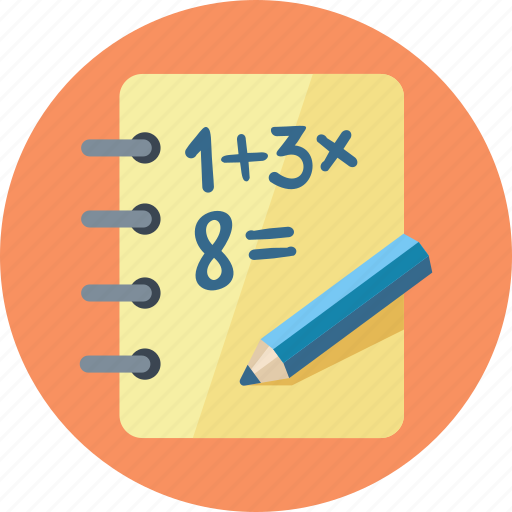 calculate, education, exercise book, math, study icon