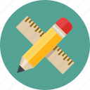 draw, education, math, mathematics, measure, pencil, ruler, school icon