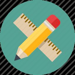 education, math, pencil, ruler icon